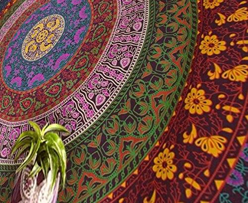 Popular Handicrafts Large Hippie Tapestry, Hippy Mandala Bohemian Tapestries, Indian Dorm Decor, Psychedelic Tapestry Wall Hanging Ethnic Decorative Tapestry (84x90 inches) (Multi Color)