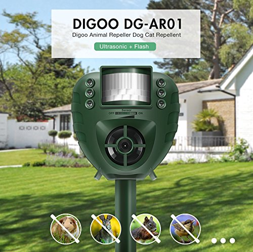 Digoo DG-AR01 PIR Ultrasonic Animal Repeller Dog Cat Insect Flash Light Repellent Outdoor Garden Expeller by scoutBAR