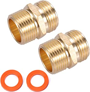 "Kbrotech 3/4""GHT Male x 3/4""NPT Male Connector,Brass Garden Hose Adapter,Brass Garden Hose to Pipe NPT Fitting Connect,Double Male Thread Size GHT 3/4 x 3/4 NPT 2pcs (3/4""GHT Male x 3/4""NPT Male)"