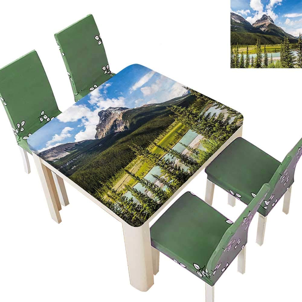 Printsonne Natural Tablecloth Canadian Cliffs High Tops and Ranges in Spring Day Panorama Image ES for Home Use, Machine Washable 50 x 50 Inch (Elastic Edge)