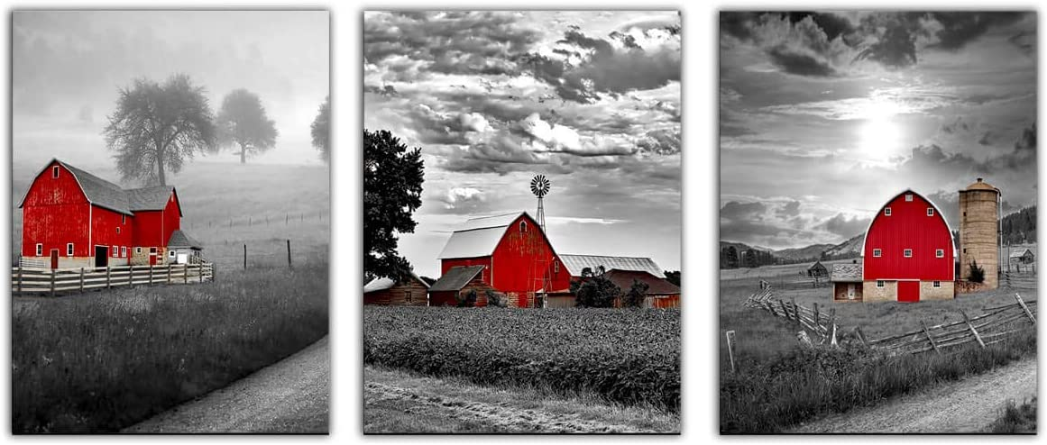 Canvas Wall Art for Bedroom Bathroom Black and White Country Rustic Farm Red Cabin Canvas Wall Decor Picture Artwork Framed Ready to Hang for Living Room Home Wall Decoration Size 16x243 Piece a Set