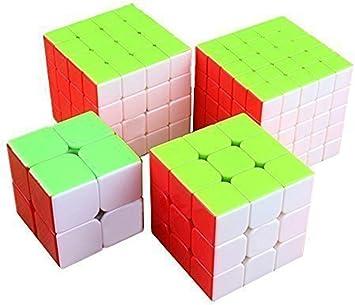 EasyGame Cubo mágico Cubo Conjunto Twist Velocidad Cubing Pack 2x2, 3x3, 4x4, 5x5: Amazon.es: Juguetes y juegos