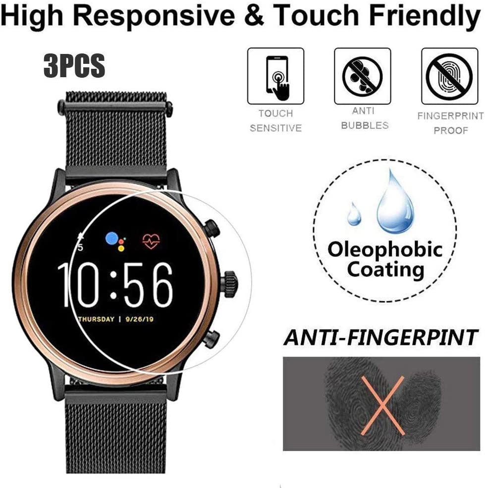 3 Pcs Bubble Free Yukuai 1//3Pcs Explosion-Proof Clear Film Tempered Glass Screen Protector for Fossil Gen 5 Q Smartwatch Full Screen Coverage Anti Scratch