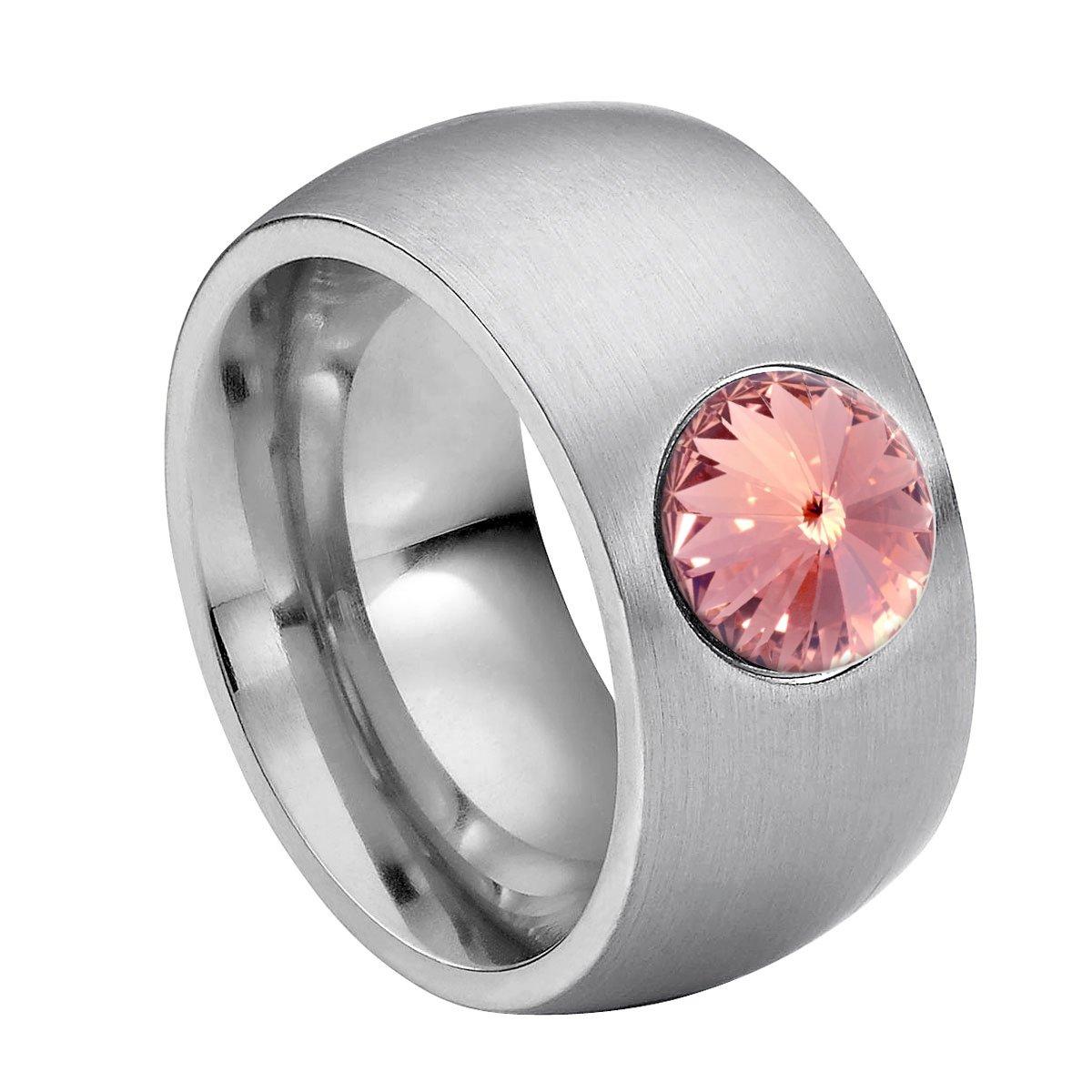 Heideman Damen-Ring Coma 11 glanzmatt Perle Swarovski Perle Weiß 8 mm Ringe mit Perlen Perlenschmuck Zuchtperle Edelstahl