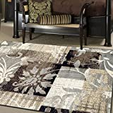 Superior Designer Pastiche Area Rug, Distressed Geometric Floral Patchwork Pattern, 6' x 9', Chocolate