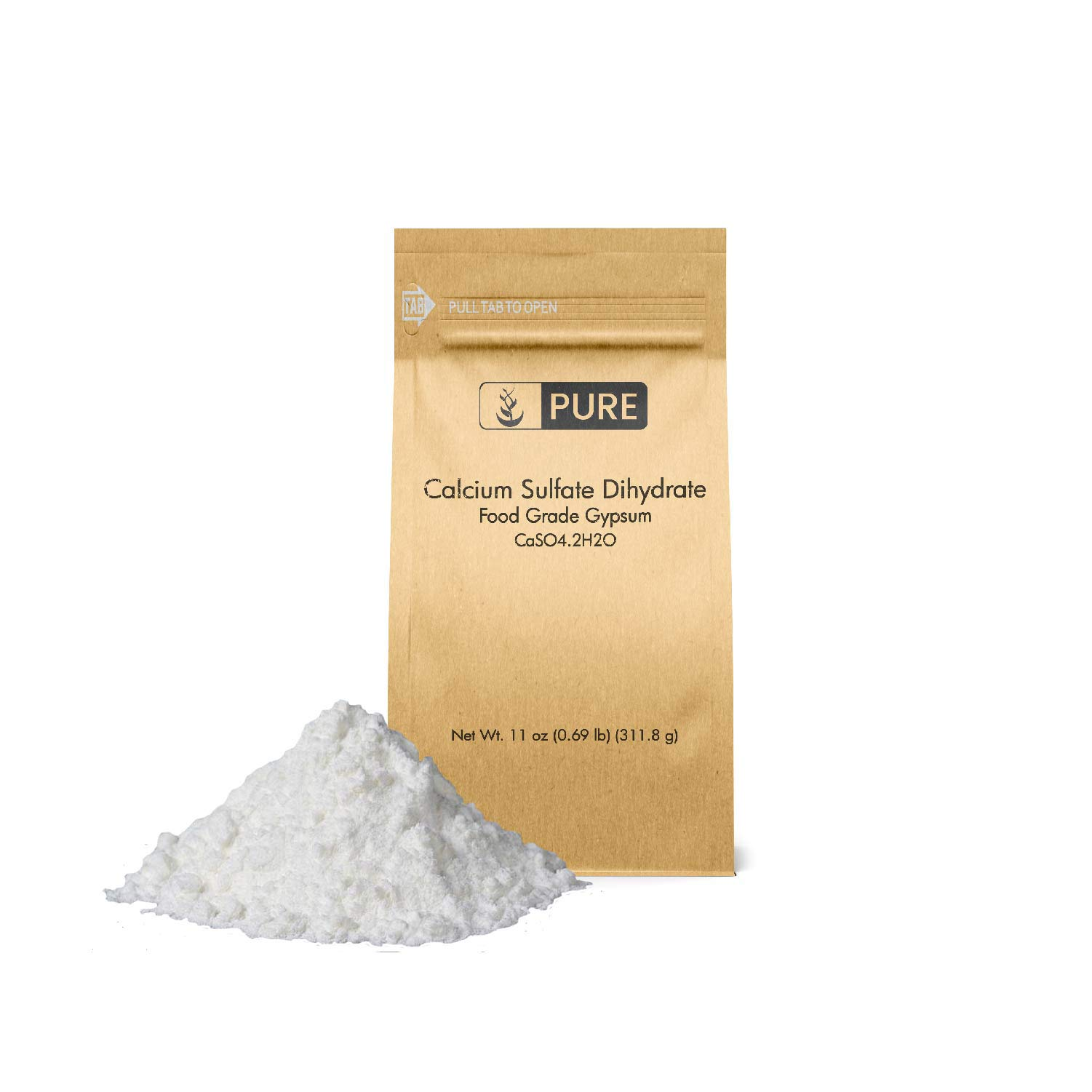 Pure Calcium Sulfate (Gypsum) (11 oz.), Eco-Friendly Packaging, for Multiple Uses Including Baking, Water Treatment, and Gardening