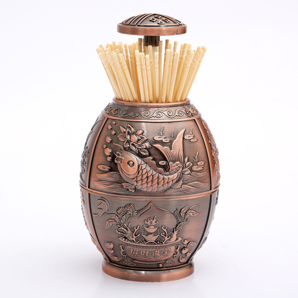 Wang's toothpick creative toothpick Hand automatic toothpick box table of home living room press-type modern toothpick-B