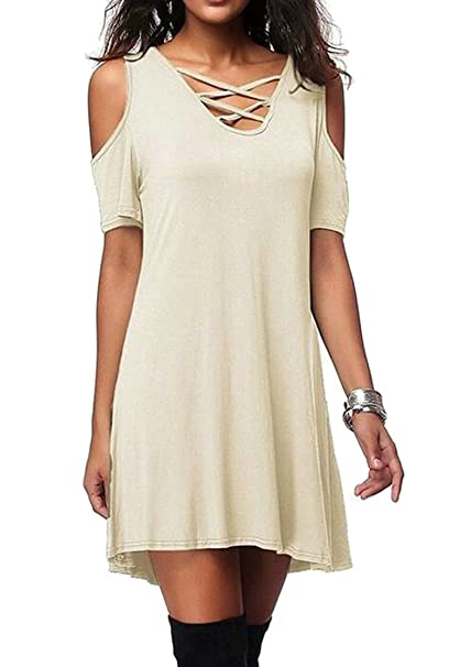 75c7af8ca4 Oberora-Women Summer Criss Cross Cold Shoulder Casual Swing Tunic Dress  Beige S