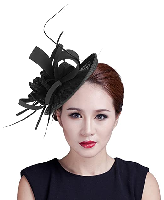 215c3ad6243 GEMVIE Women Sinamay Fascinator Hair Clip Party Cocktail Pillbox Hat Black
