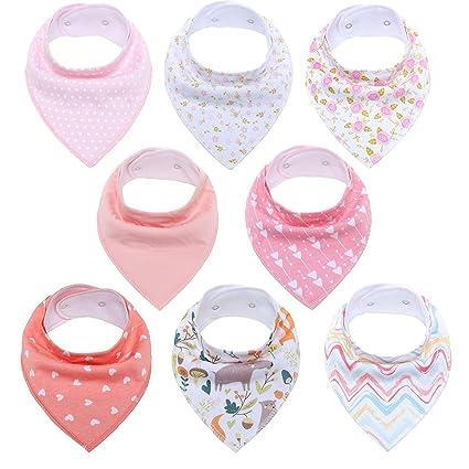 Baby Bandana Bibs Set 8-Pack Super Teething Absurbent Drool 100/% Organic Cotton