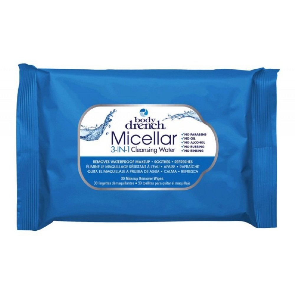 Amazon.com : Body Drench Micellar 3-In-1 Cleansing Water Wipes - Removes Waterproof Makeup, 30 pcs : Beauty