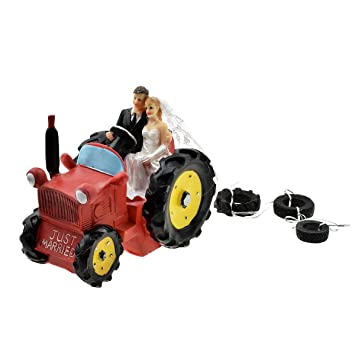 Bride and Groom Figurine on Tractor Wedding Cake Topper - RED ...