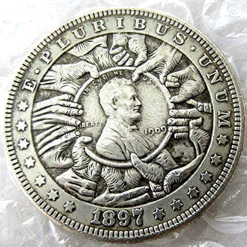 (suiwoyou HB(55) Hobo Nickel 1897 Morgan Dollar in 1909 Lincoln Cents Skull Coin Used for Keychain Pendant Great Gift )