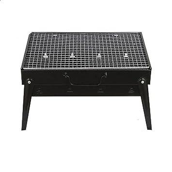 PENG Barbacoa plegable espesa horno de acero negro parrilla exterior de leña parrilla casa de humo
