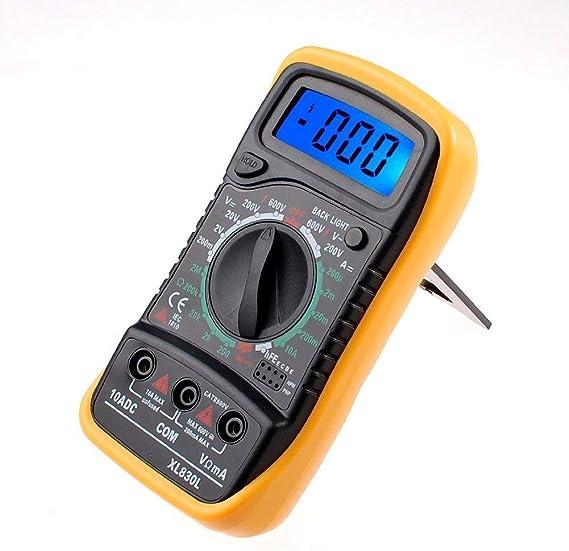 de continuit/é de r/ésistance Multim/ètre num/érique XL830L avec /écran LCD r/étro-/éclair/é de tension CA//CC de diodes Noir//jaune etc Appareil de mesure de courant . batterie 9 V et lignes de mesure