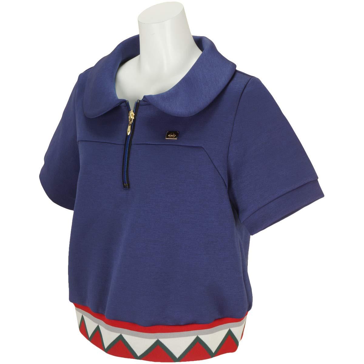 カッパ Kappa 中間着(セーター、トレーナー) Kappa G 裾ジャガードリブ半袖プルオーバー レディス M ネイビー B07RW9SVLW