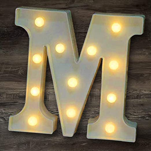 YOEEN LED Marquee Letter Lights Sign Light Up Letters Battery Powered Alphabet Letters for Wedding Birthday Party Christmas Night Light Home Bar Decoration (M)