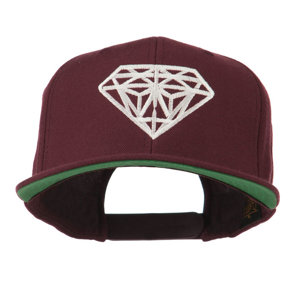 E4hats Big Diamond Embroidered Flat Bill Cap - Maroon OSFM at Amazon Men s  Clothing store  245fd67cb239