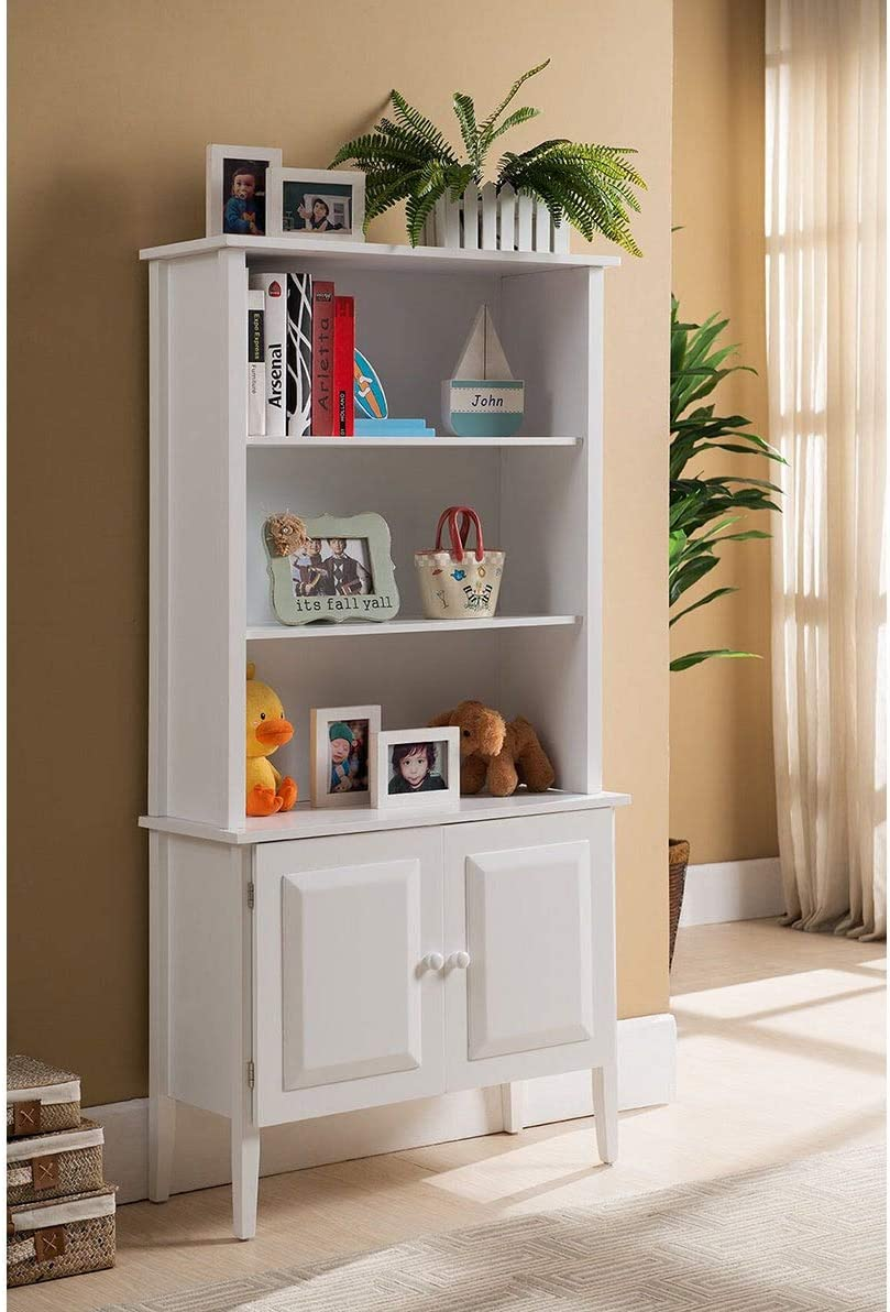 K and B Furniture Co Inc K&B Tall White Bookcase with Cabinet.