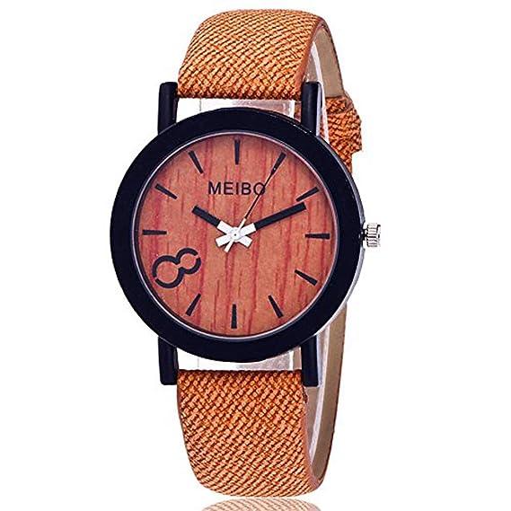 Modelado de Madera de Cuarzo para Hombre Mujer Vintage Casual de Madera Color Cuero Reloj de Pulsera de Cuarzo Regalo ODGear Clearance: Amazon.es: Relojes