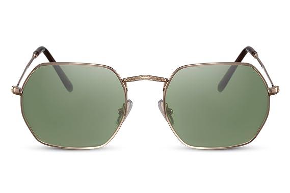 Cheapass Gafas de Sol Hexagonales Espejadas Metálicas UV400 Hombre Mujer