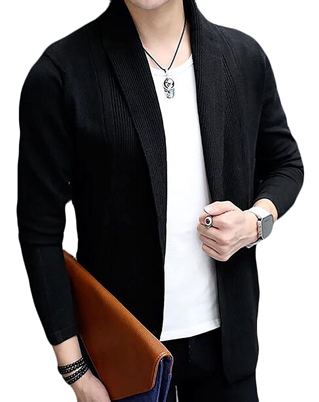 Fulok Men's Casual Basic Slim Knits Thin Drape Shawls Cardigan Sweater