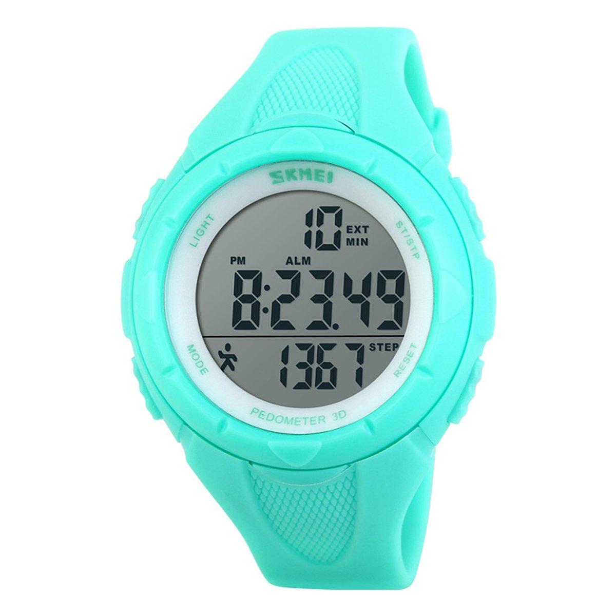 agradables impermeable de los deportes azules de Tiffany relojes hombres mujeres reloj de pulsera militar 3d digital podómetro