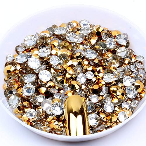 Kamas 2mm-6mm Gold Coating Resin Rhinestones Many Facets Cut Round Flatback Non Hotfix Beads 10000-50000pcs/lot DIY Nails Art - (Color: 5mm 30000pcs)