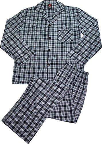 Hanes Men's Broadcloth Long Sleeve Pajama Set (Black, ()