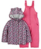 Carter's Baby Girls 2-Piece Heavyweight Printed Snowsuit with Ears, Pink Floral, 18M