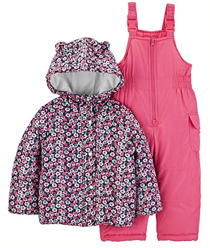 3873bd05852 Carter's Baby Girls 2-Piece Heavyweight Printed Snowsuit with Ears, Pink  Floral, 18M