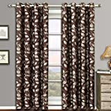 Charlotte Chocolate Grommet Jacquard Window Curtain Panels, Pair / Set of 2 Panels, 52×63 inches Each, by Royal Hotel