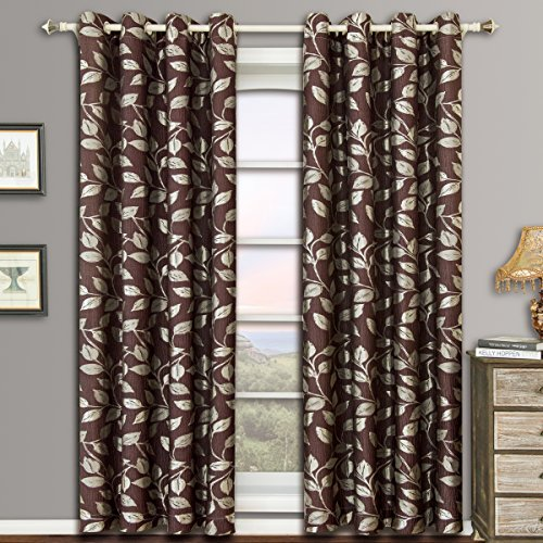 Royal Panel Chocolate - Charlotte Chocolate Grommet Jacquard Window Curtain Panels, Pair / Set of 2 Panels, 52x63 inches Each, by Royal Hotel