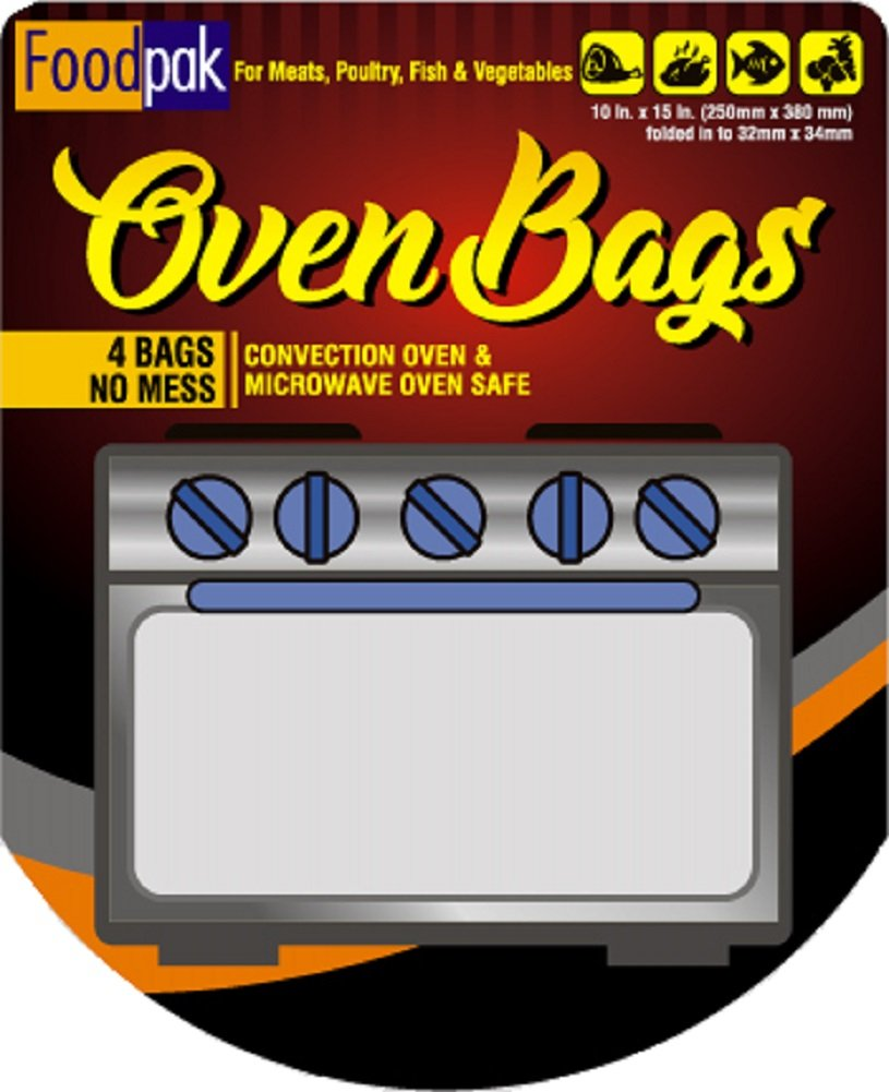 FoodPak Oven Bags 4 Pack Large Turkey Size. Oven Roasting Bags for Cooking Marinading Brining and Baking. Pan Saver