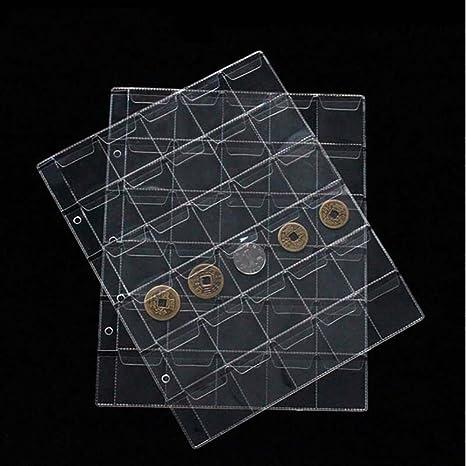 71a833dc22 Fogli per raccoglitore portamonete da collezione con 30 alloggiamenti, in  plastica