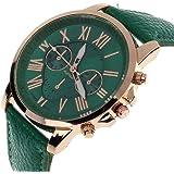 SMTSMT Women's Leather Analog Quartz Wrist Watch-Dark Green