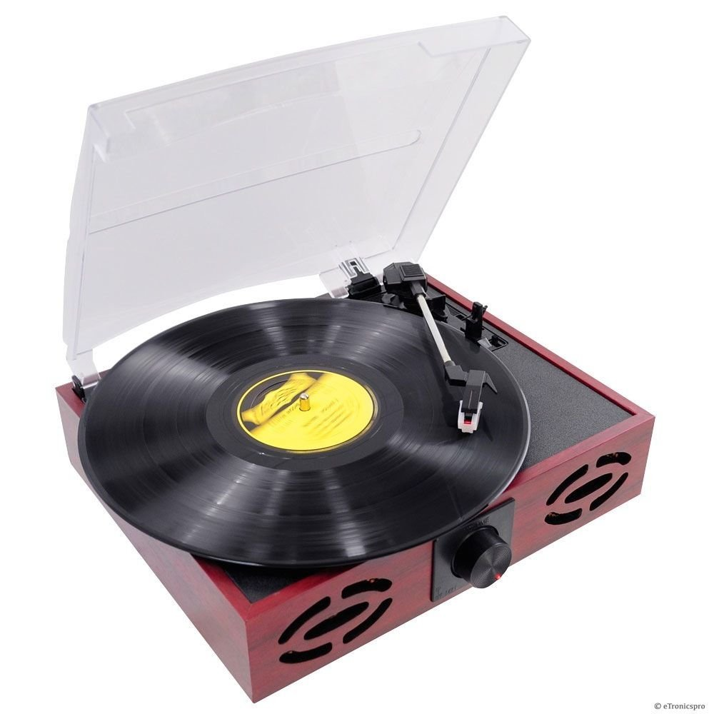 3-SPEED 33/45/78 WOODEN CASE TURNTABLE RECORD PLAYER w/ USB-to-PC / VINYL-to-MP3