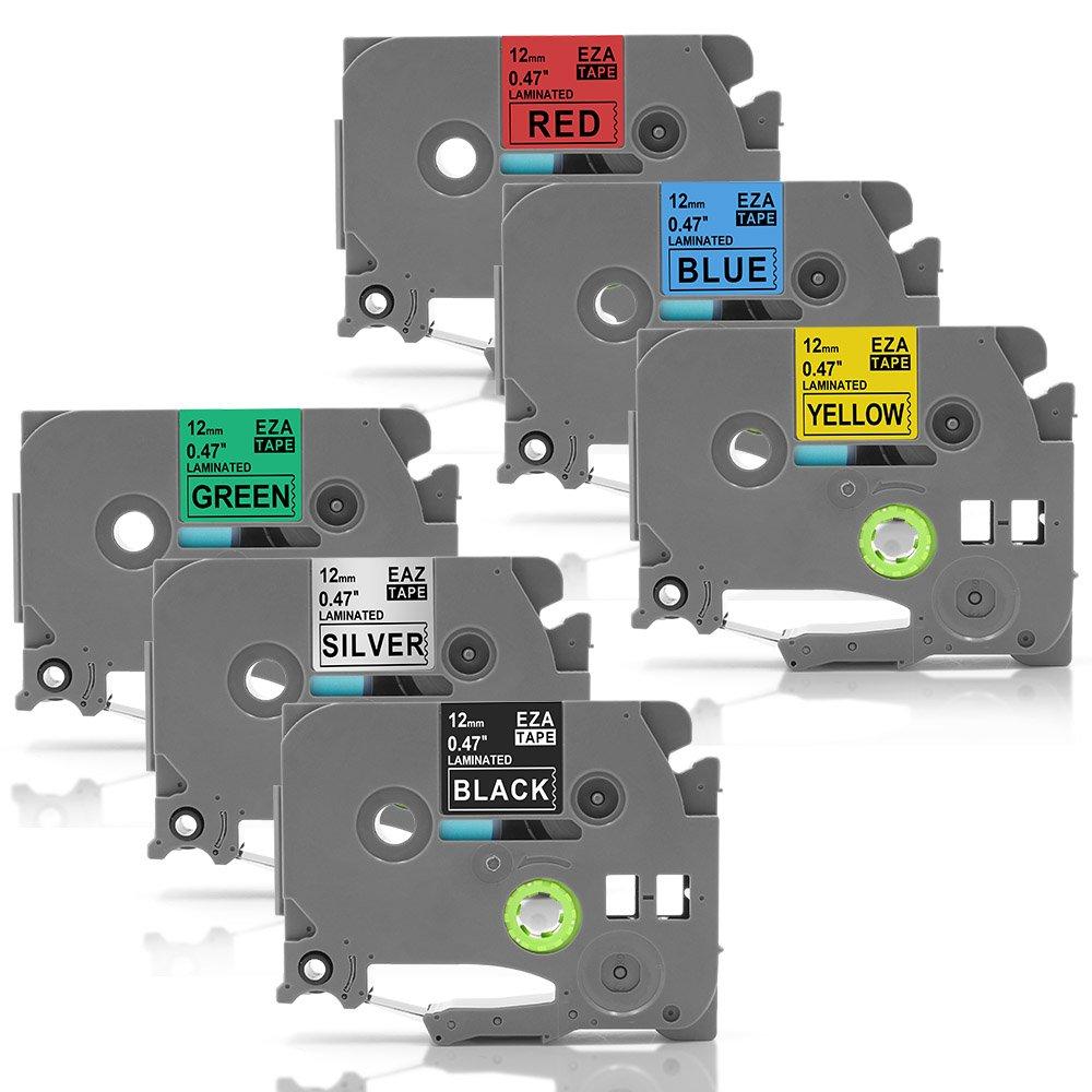 MarkField 5PK Nastri a Cassette Compatibile per Brother P-Touch TZe-231 TZe-431 TZe-531 TZe-631 TZe-731 Laminato Nastri Etichette Nero su Bianco/Rosso/Blu/Giallo/Verde 12mm x 8m coLorty