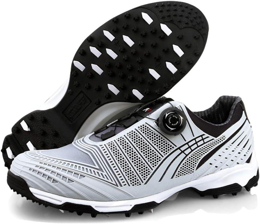 TOT Zapatillas de Golf Spikeless para Hombre Zapatillas Deportivas Impermeables y Transpirables Calzado Antideslizante con Peso Ligero con Sistema de Cordones automáticos y súper Agarre,Gris,39: Amazon.es: Hogar