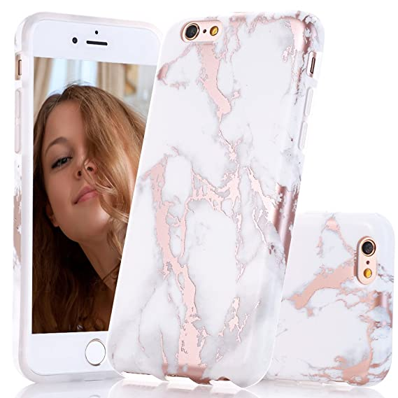 lowest price 3e5d3 614a7 Amazon.com: BAISRKE iPhone 6 6s Case, Shiny Rose Gold White Marble ...