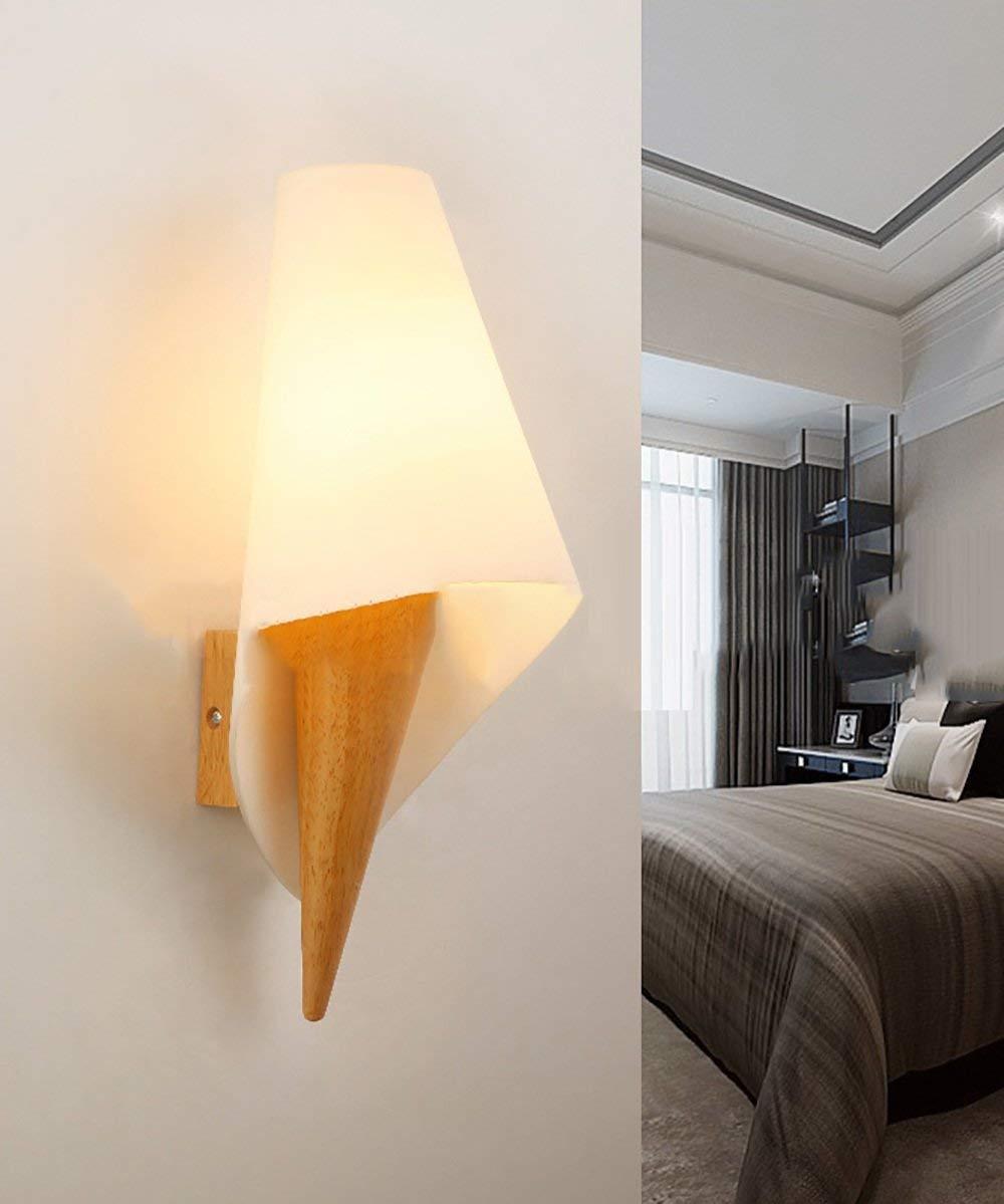 Wand Leuchte 1 Kopf kreativen Massivholz Wand Lampe am Bett Schlafzimmer Treppen Wohnzimmer Wand Lampen (Farbe  B)