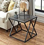 """O&K Furniture 21.7"""" Height Industrial End Side Table with Metal Frame for Bedroom & Living Room, Gray Finish(1-Pcs)"""