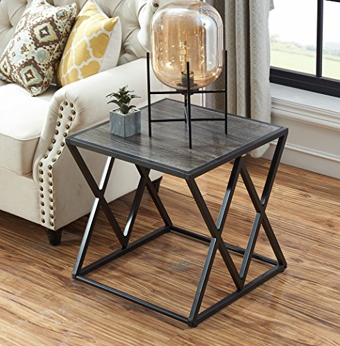 "Living Room Modern Side Table - O&K Furniture 21.7"" Height Industrial End Side Table with Metal Frame for Bedroom & Living Room, Gray Finish(1-Pcs)"