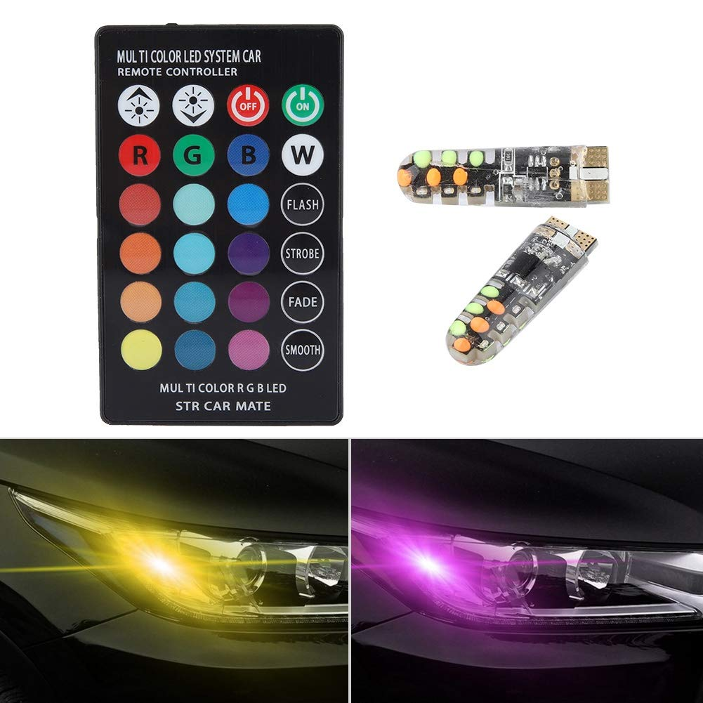 Without Battery Hlyjoon 1pair 12V 1.3W RGB Car Auto Interior Dome Reading Light RGB-COB Multi-Color Wedge Side LED Lamp with Remote Control