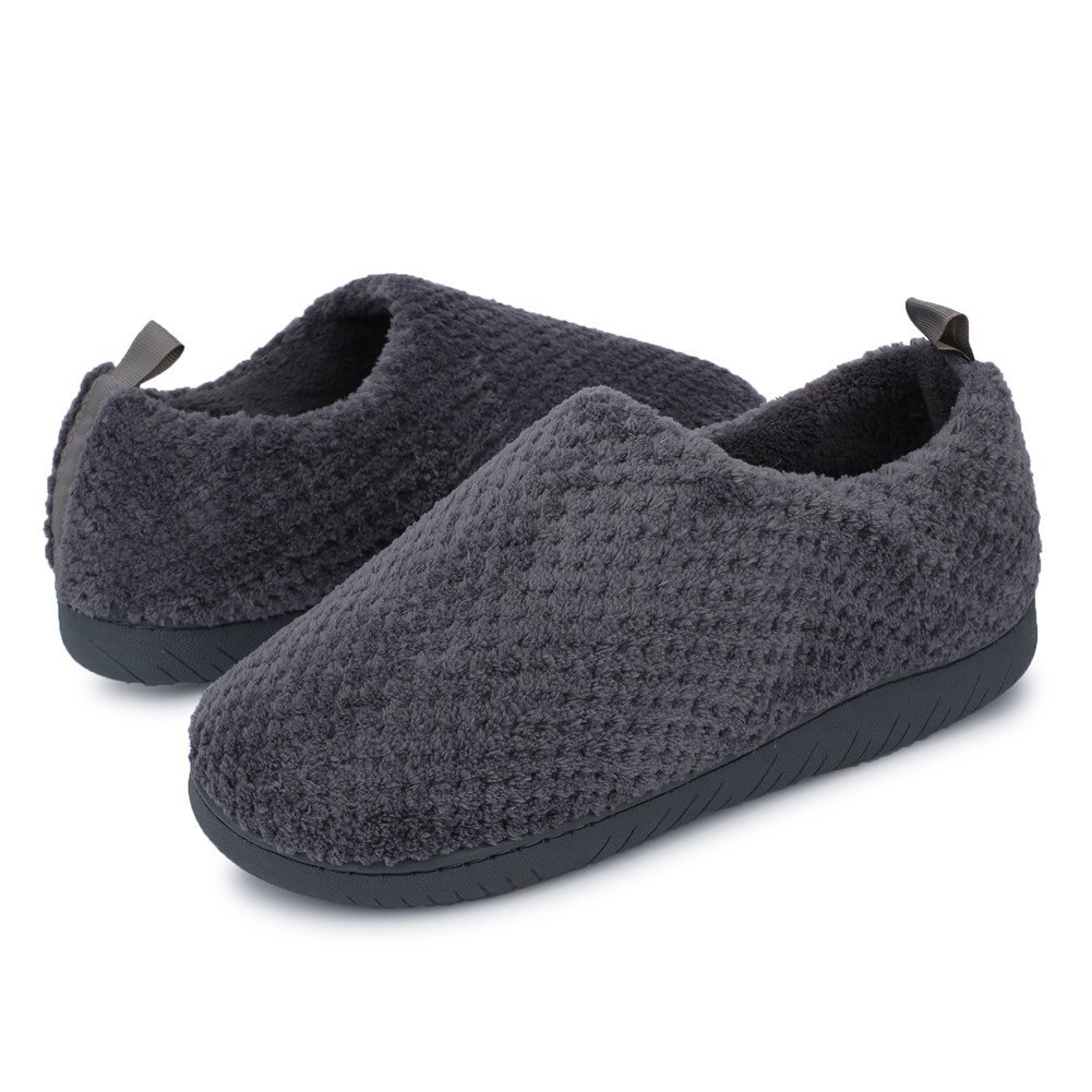 JIASUQI Men's Cotton Winter Fur Clogs Warm Ankle Slippers Dark Grey US 9.5-10.5 Women,7.5-8 Men