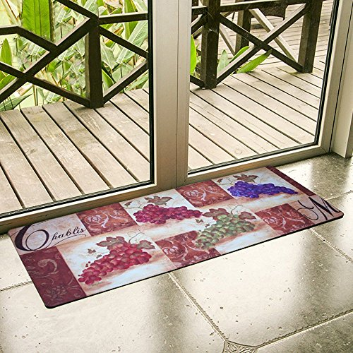 Grapes Non Skid - USTIDE Non-Slip Rubber Area Rug Vintage Grapes Design Rug Non Skid Kitchen Floor Mat Waterproof Rugs