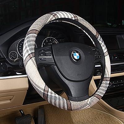 DuoDuoBling Boho Cloth Steering Wheel Cover for Women Men 2020 e46 (Beige Coffee): Automotive [5Bkhe1010305]
