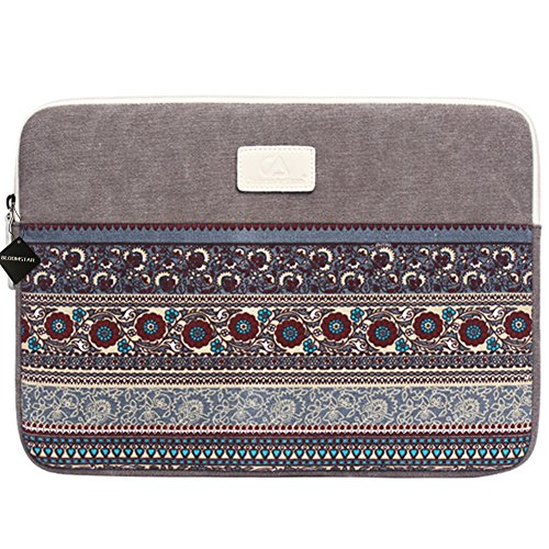 (BLOOMSTAR 14 Inch Bohemian Canvas Protective Laptop Sleeve Bag Notebook Case Cover for MacBook, Chromebook, Acer, Dell, HP, Samsung, Sony (Horizontal,)