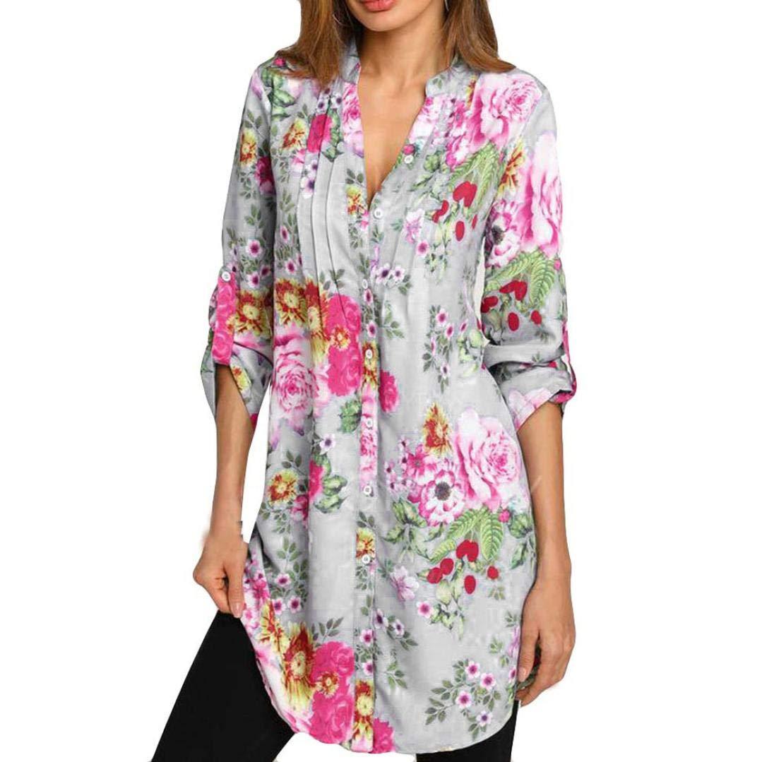 TOPUNDER Floral Print Shirt for Women Vintage V-Neck Tunic Tops Fashion Plus Size