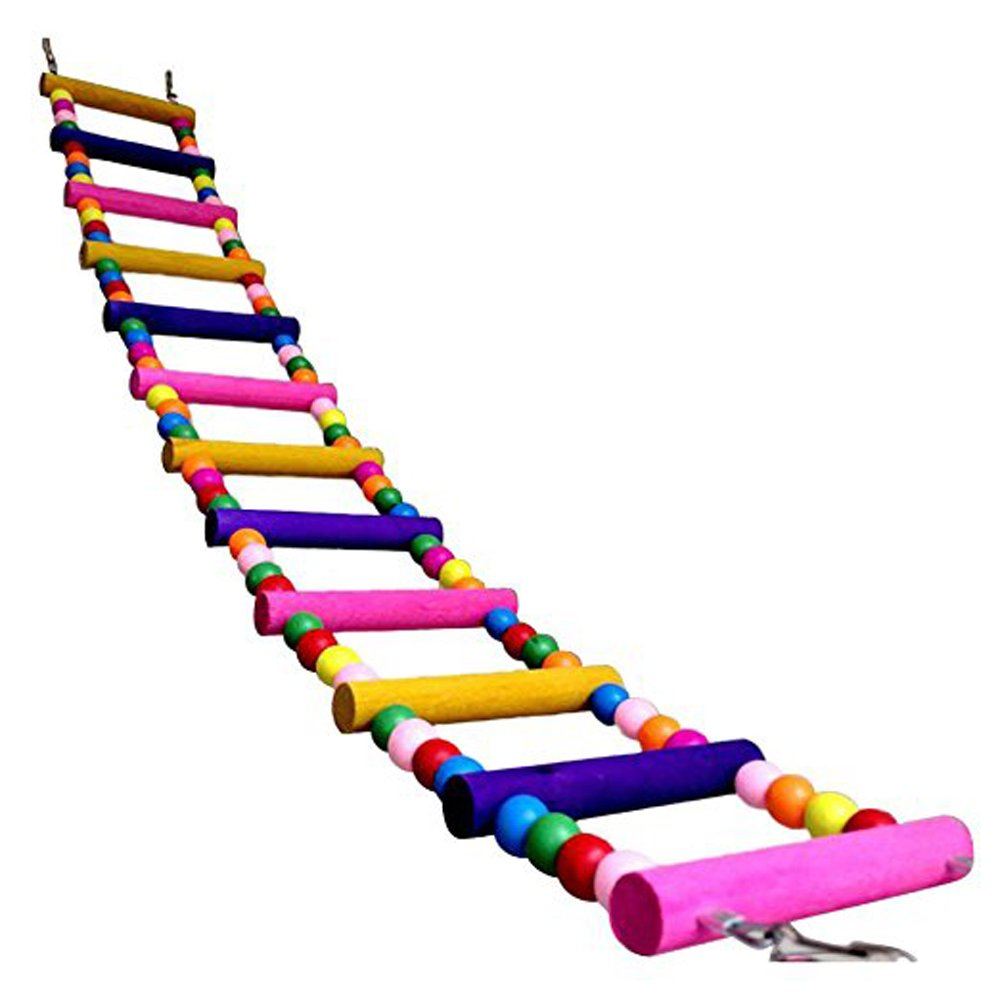Longpro Rainbow Ladder Bird Play Toy, 12-Step Ladders Wooden Crawling Bridge, Perfect for Parrots, Hamster, Rat, Pet Trainning